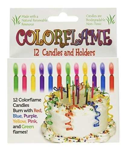 Velas de cumpleaños colorflame con llamas de colores (12 po