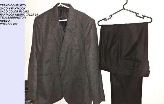 Vendo terno completo color plomo con 2 pantalones color