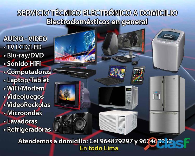 Servicio a domicilio; televisores ctr/lcd/led, equip0s, pc, laptops, rockolas y lavadoras a bajos pr