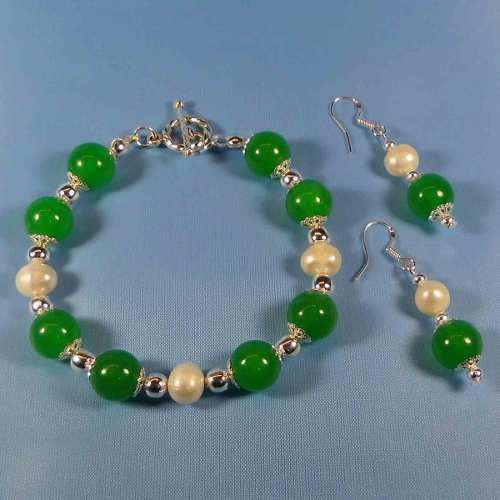 Pulsera y aretes piedra jade verde y perlas cultivadas p38