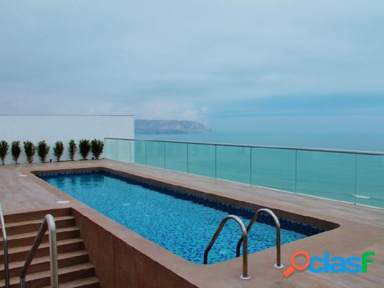 Departamento en alquiler en miraflores hermoso vista al mar 3 dormitorios terraza piscina