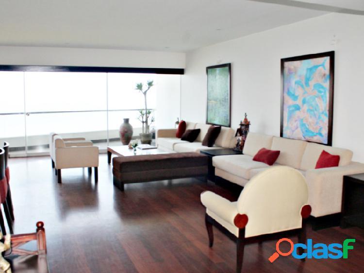 Departamento en alquiler en miraflores exclusivo vista mar amoblado 3 dormitorios terraza