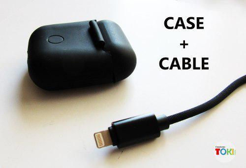 Combo estuche airpods + cable cargador nylon para apple