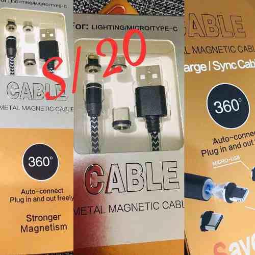 Cable magnético con adaptador vo8, tipo 3 y iphone 5,6,6s