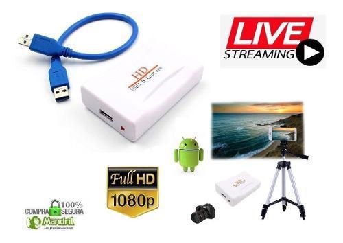 Capturador audio video smartphone hdmi usb android iphone