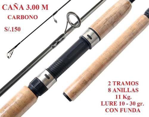 Caña Pesca 3.00 M Carbono 2 Tramos Pescar Con Funda