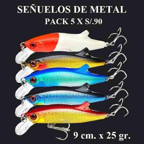 Señuelos De Metal 25 Gr Pack X 5 Kit De Pesca Combo Pescar