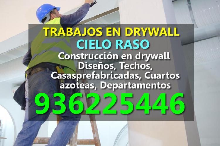 Trabajos en drywall. cielo raso. construcción en drywall.