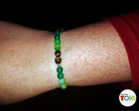 Pulseras de piedra natural jade-amatista verde-ojo de tigre