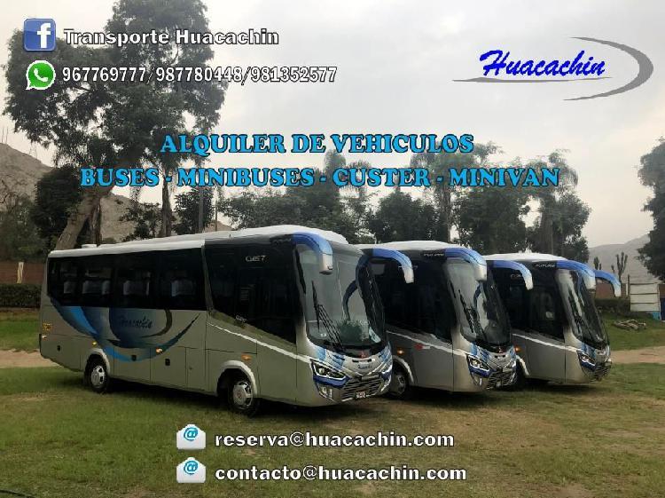 Alquiler de buses, custer y minivan h1 para transporte