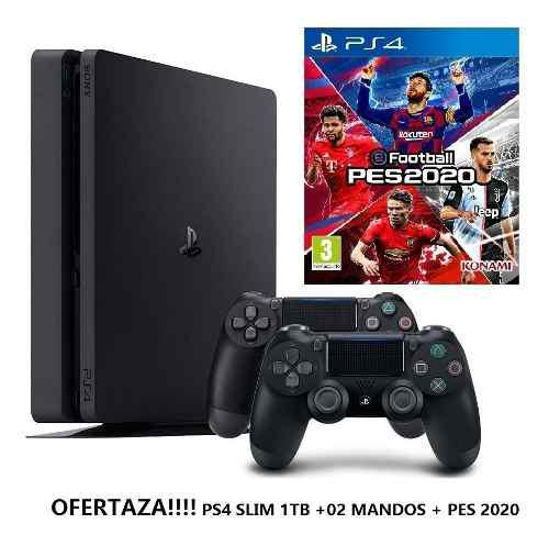 Ps4 consola playstation 4 slim 1tb + pes2020 + 02 mandos