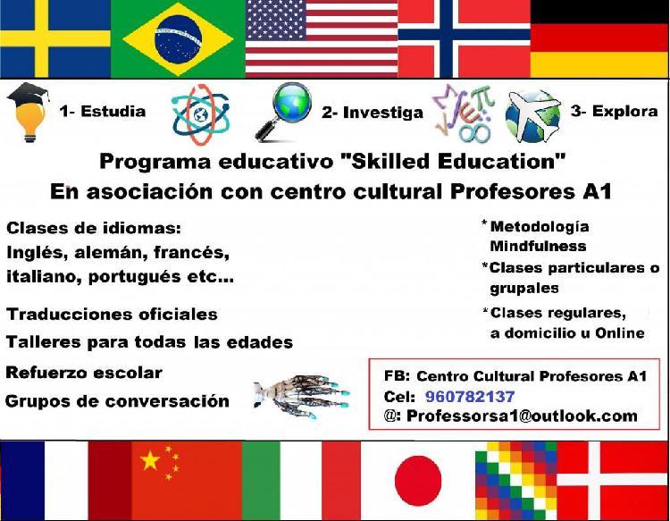 Clases de idiomas, talleres educativos, traducciones
