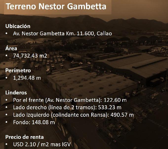 Excelente terren indust. 74,732 m² av nestor gambeta11.6 km