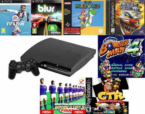 Ps3 playstation 3 160gb flasheado + super nintendo + ps1