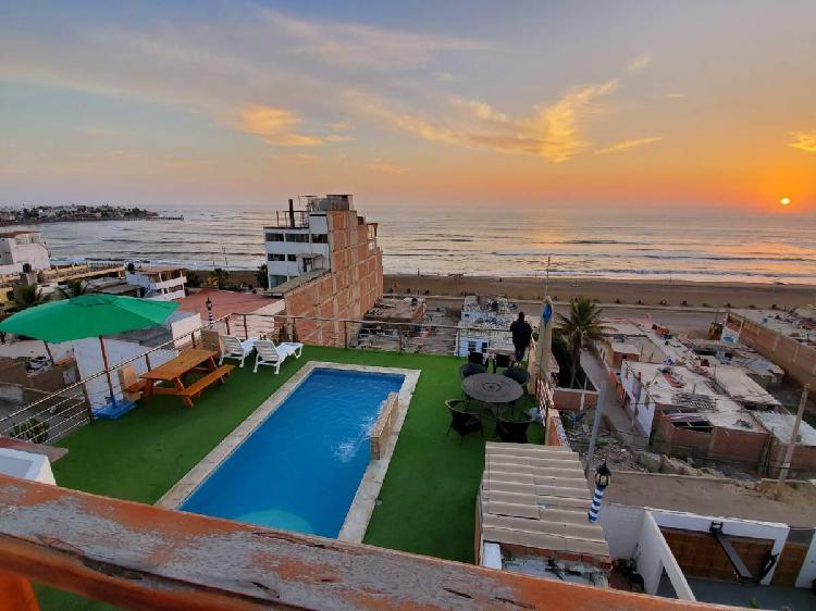 Casa de playa huanchaco 5 pisos con piscina 7 dorm.