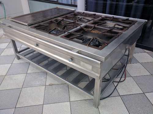 Cocina industrial calidad 304 acero 4 hornillas con plancha