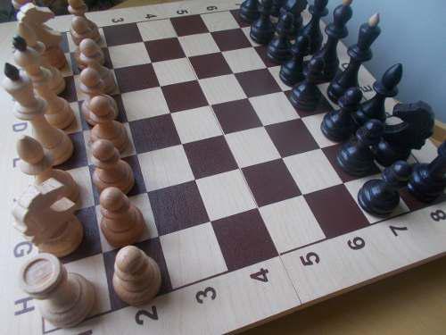 Juego ajedréz madera tablero 43 cm figuras grandes rusia