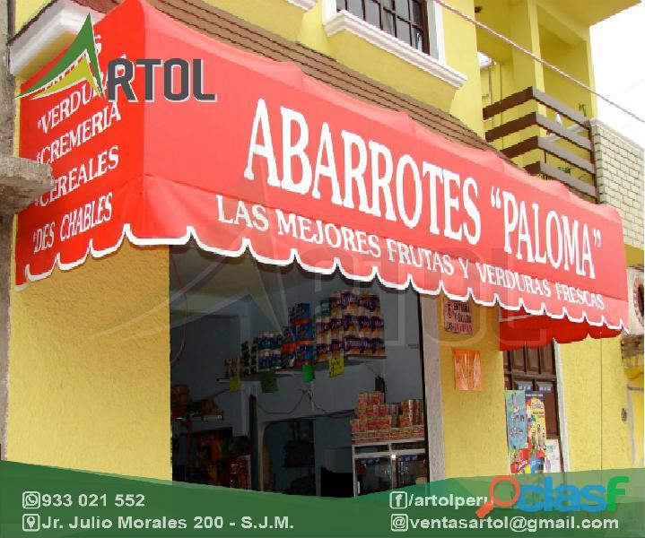 Toldos tipo pico de loro con logos   artol perú