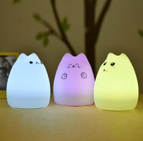 Lámpara led silicona gatito kawaii - entrega sin costo