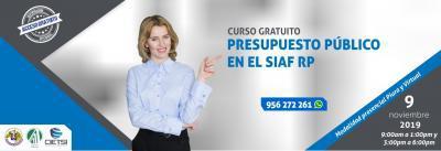 CURSO ESPECIALIZADO PRESUPUESTO PÚBLICO EN EL SIAF RP 2019