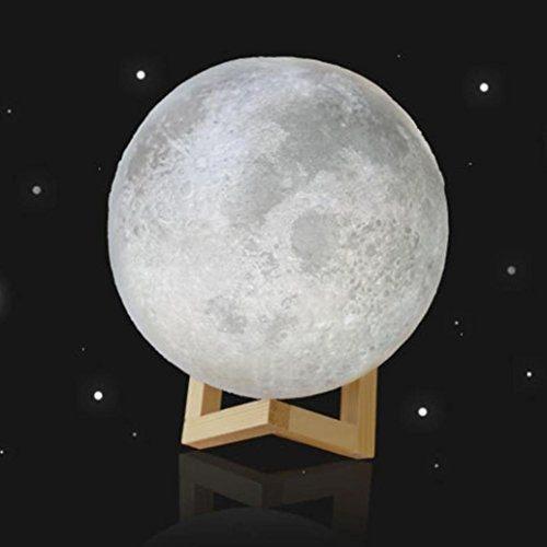 Leegor 3d usb led lampara de noche de luna magico luz lunar