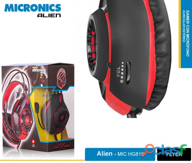 Audífono micronics, alien gamer con micrófono.