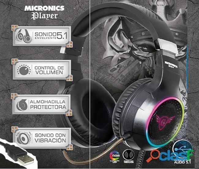 Audífono micronics player, gamer con micrófono.