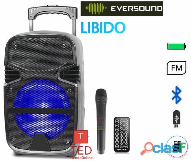 Parlante batería eversound libido, conexión inalámbrica bluetooth,microfono,control remoto.