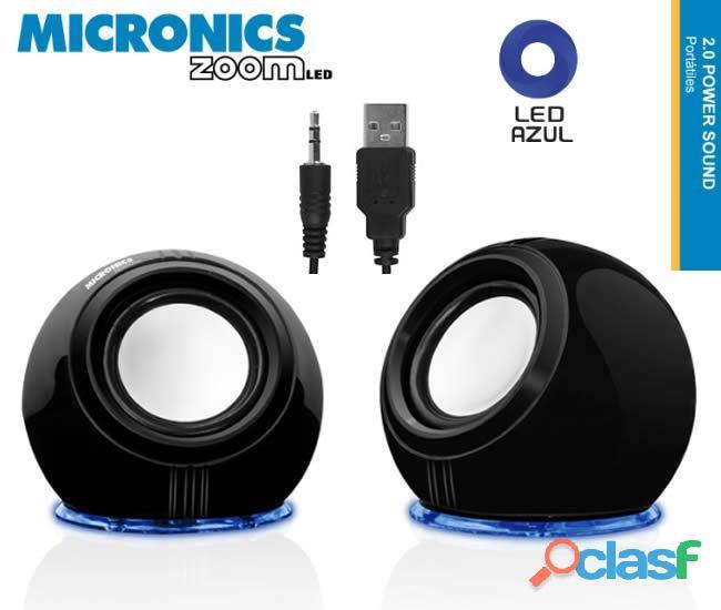 Parlante de escritorio micronics zoom,led azul.