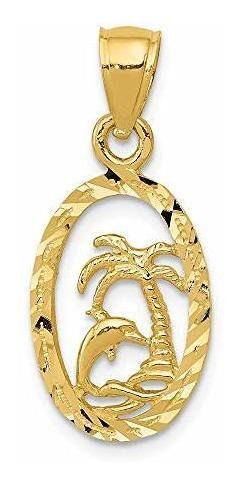 Hielo quilates oro amarillo de 14 k dolphin palm arbol colga