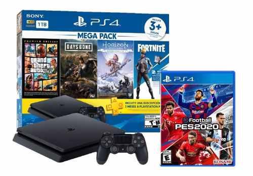 Consola ps4 1tb slim mega pack + pes 2020 ligas peruanas