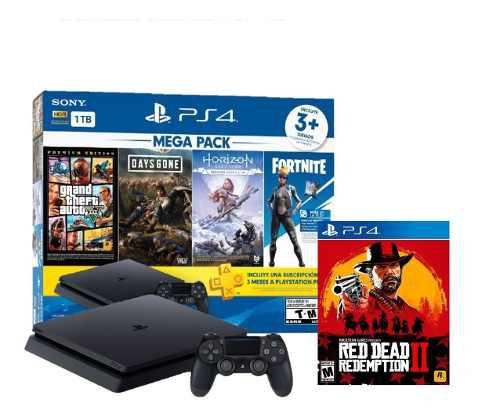 Consola ps4 1tb slim mega pack + red dead redemption ii