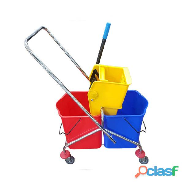 Carro escurridor con doble balde rojo y azul de 18 litros