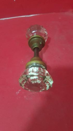 1a antigua y hermosa perilla de puerta de cristal