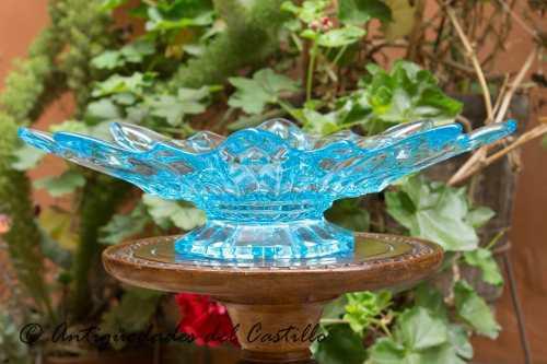 Centro de mesa vidrio aguamarina murano