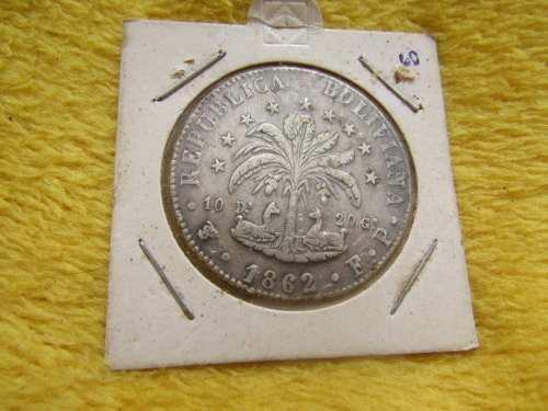 Tesoros moneda de plata boliviana 8 soles bolívar 1862