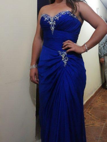 Vestido Con Aplicaciones De Pedrería, Color Azul