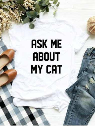 Camiseta frases polo estandart my cat gato animal lover dog
