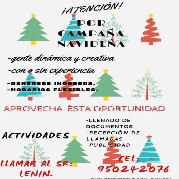 Por campaña navideña llamar al 950242076 mas información