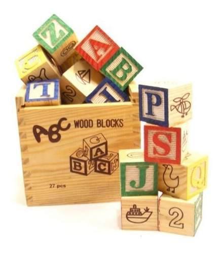 Juego didáctico madera cubo 48 piezas letras números