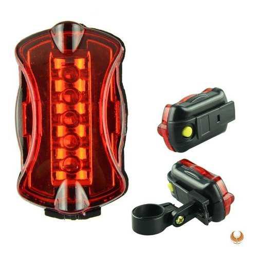 Luz 5 Leds Luces Linterna Para Bicicleta Posterior Rojo