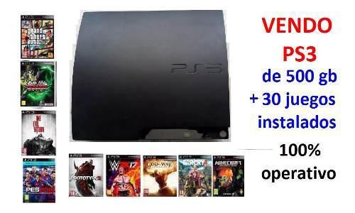 Playstation 3 slim 500gb + 30 juegos * seminuevo