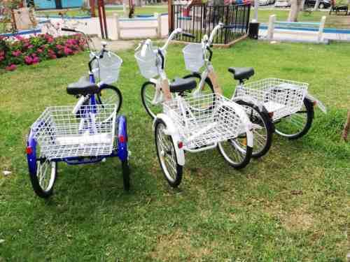 Venta de bicicleta de tres ruedas con canasta.