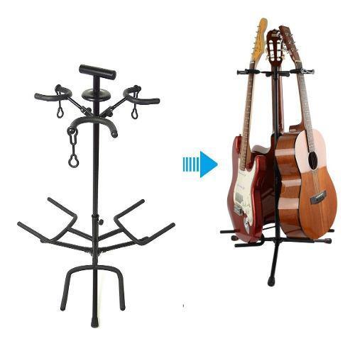 Soporte pedestal atril de 3 guitarras - parante stand