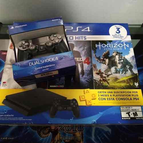 Playstation 4 slim ps4 500gb 2 controles + 7 juegos