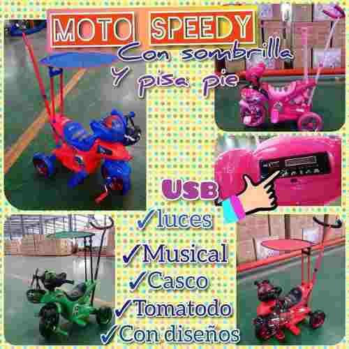 Triciclo moto a pedal para niña y niño con guiador