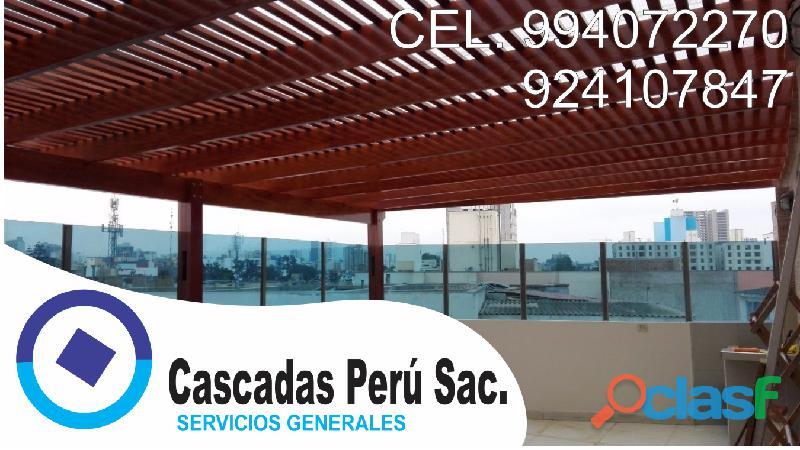 Techos sol y sombra, techos para terrazas, techos de policarbonato, velo de aga, piletas