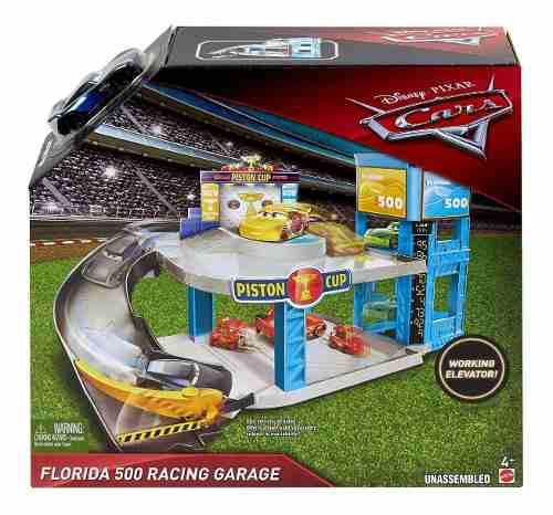 Cars 3 disney mcqueen playset garage de carreras florida 500