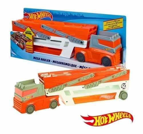 Pista de autos hot wheels mega remolque mega transportador