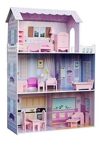 Teamson kids - casa de muñecas de madera de mansion de lujo